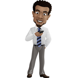 happy businessman holding a smartphone vector image