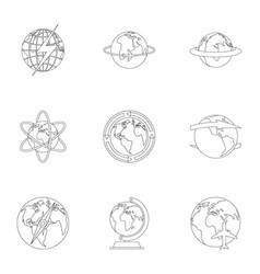 humankind icons set outline style vector image