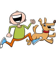 Kid running with puppy cartoon vector