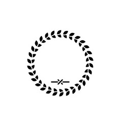 Laurel wreath glyph icon and leaves in ring sign vector