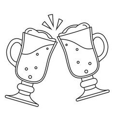 line art black and white two fancy beer glass vector image