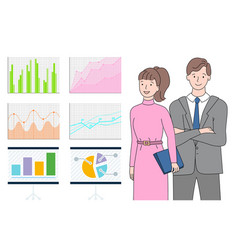Man and woman looking at statistics on board vector
