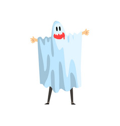 man dressed as ghost funny person at carnival vector image