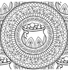 Mandala with pot and coins clover Black white vector image