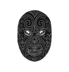Maori mask scratchboard vector