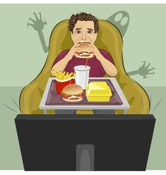 mature man eating hamburger and watching TV vector image