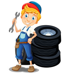 Mechanic with tools and tyres vector