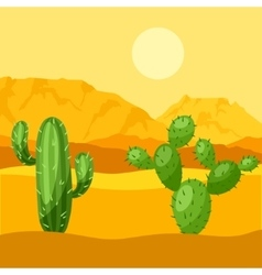 Mexican desert with cactuses and vector