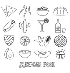 Mexican food theme set of simple outline icons eps vector