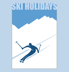 minimalist winter poster advanced skier slides vector image