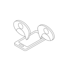 Mobile chatting icon isometric 3d style vector