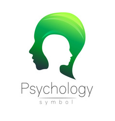 Modern head sign of psychology profile human vector