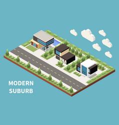 modern suburb isometric background vector image