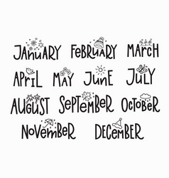 Months year calendar lettering typography vector