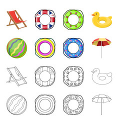 Multicolored swimming circle cartoonoutline icons vector