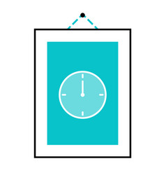 Picture on the wall with clock one hour hanging vector