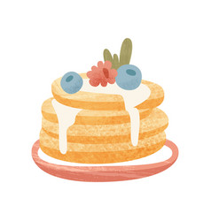 pile freshly-baked pancakes with blueberry vector image