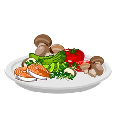 Plate of assorted vegetables mushrooms fish vector