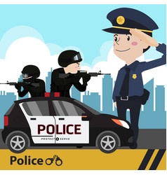 Police set cartoon vector