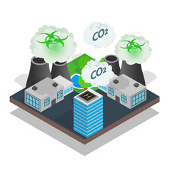 Pollution concept banner isometric style vector