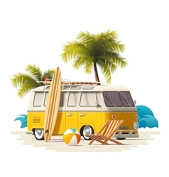 realistic vintage surfer van on the beach vector image