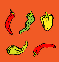 red yellow green peppers icons collection vector image