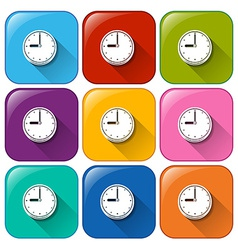 Rounded buttons with wallclocks vector