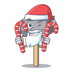 santa with candy meat hammer utensil isolated on vector image
