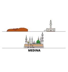 Saudi arabia medina flat landmarks vector