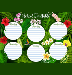 School timetable weekly schedule leaf pattern vector