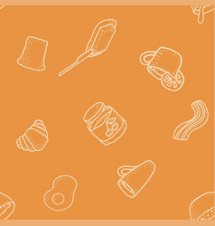 seabless pattern with breakfast on orange vector image