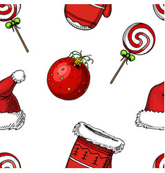 seamless pattern merry christmas xmas new year vector image