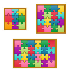 set collection jigsaw puzzle game vector image