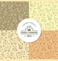 set four seamless patterns farm vector image