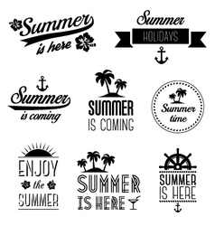set summer holidays typography labels and signs vector image