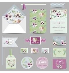 set wedding stationary - invitation card vector image