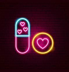 sex pills neon sign vector image