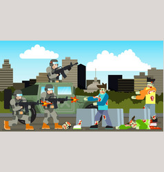 Silhouette zombie with city ruined building suv vector