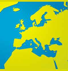 simple green blank map of europe vector image