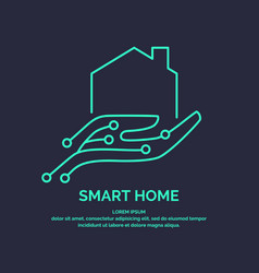 smart home icon and emblem digital technologies vector image