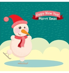 Snowman in a hat and ice skating vector