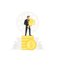 Successful and young businessman stand on coins vector