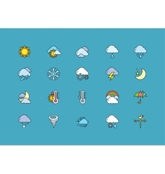 Symbols weather Set of Colorful Outline Icons vector image
