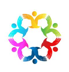 teamwork people holding hands together logo vector image