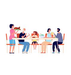 Thanksgiving dinner cartoon family eating vector