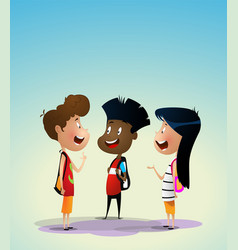 three multiracial kids discuss something vector image