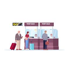 Ticket sales counter semi flat rgb color vector