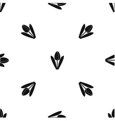tulip pattern seamless black vector image