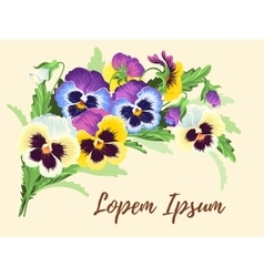 Vintage card with pansies vector