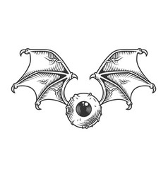 Vintage eye with wings concept vector